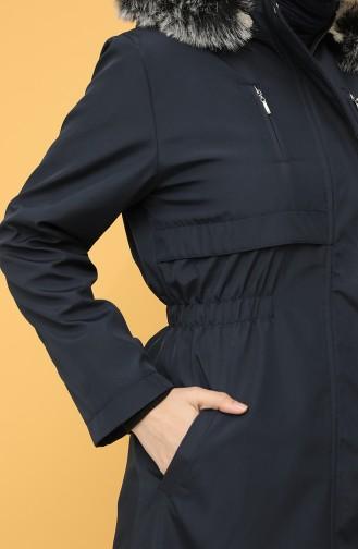 Hooded Long Coat 9059-07 Navy Blue 9059-07
