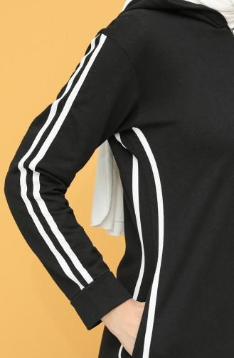 Kapüşonlu Spor Ferace 10000-01 Siyah 10000-01