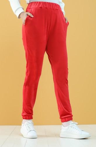 Cepli Kadife Jogger Eşofman Altı 8899-03 Kırmızı