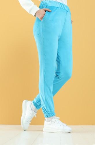 Cepli Kadife Jogger Eşofman Altı 8899-08 Mavi