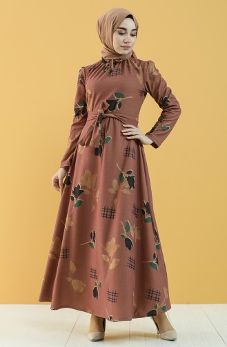 Beige-Rose Hijap Kleider 5233-03