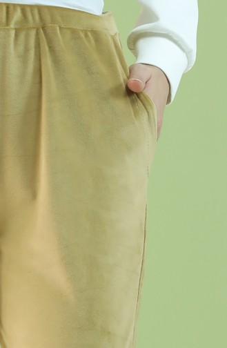 Cepli Kadife Jogger Eşofman Altı 8899-09 Yağ Yeşili