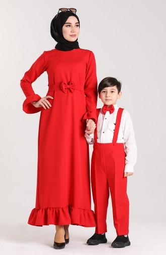 Erkek Çocuk Salopet Pantolon 2029-01 Kırmızı 2029-01