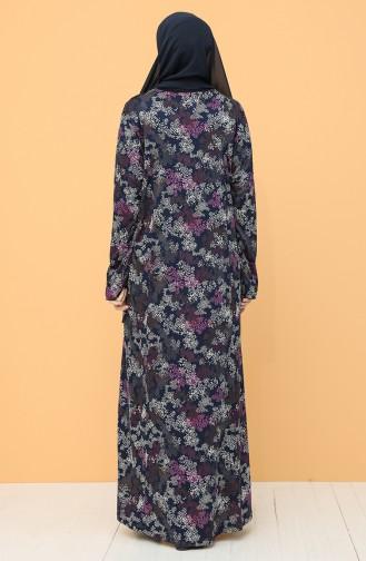 Büyük Beden Desenli Elbise 0103-03 Lacivert Mürdüm