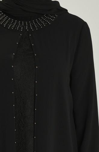 Schwarz Hijab-Abendkleider 3124-04