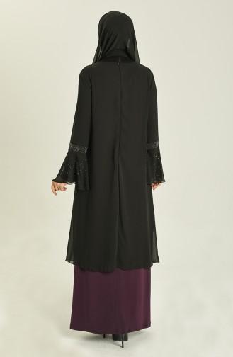 Plus Size Stone Printed Evening Dress 3278-09 Black Purple 3278-09