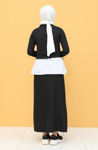 Garnili Bluz 3239-05 Siyah Beyaz 3239-05