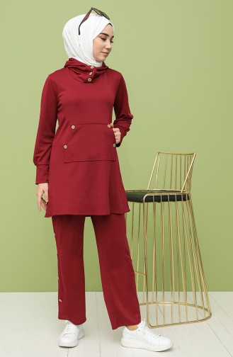 Düğmeli Tunik Pantolon İkili Takım 4048-03 Bordo