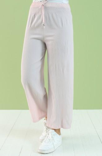 Beli lastikli Bol Paça Pantolon 7004-03 Pudra