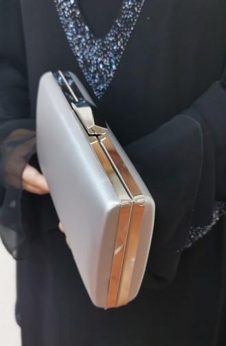 Bayan Abiye Clutch Portföy Kumaş Çanta 273109-208 Gümüş Gri