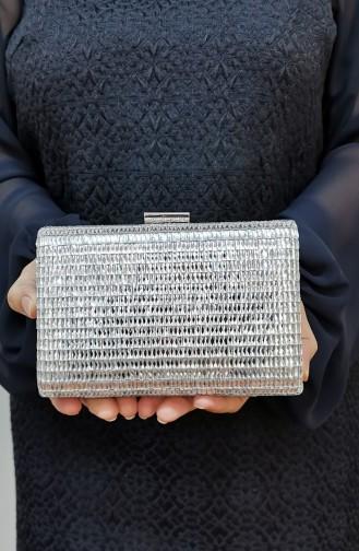 Bayan Abiye Clutch Portföy Cam Taşlı Çanta 334232-208 Gümüş Gri