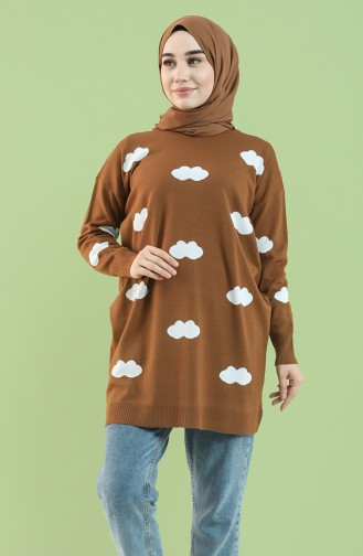 Knitwear Patterned Tunic 4276-05 Tobacco 4276-05