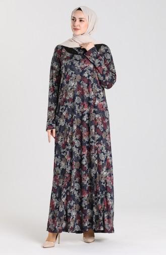 Navy Blue Hijab Dress 0103-04