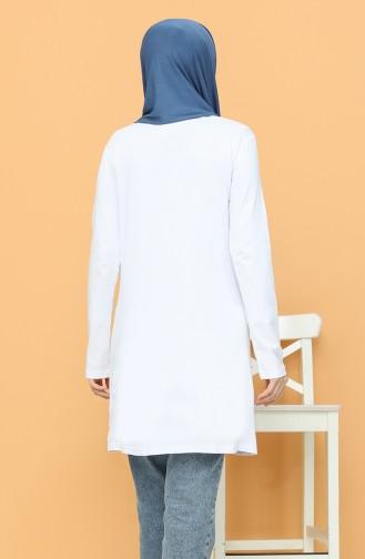 Baskılı Tunik 6008-02 Beyaz