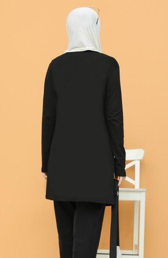 Baskılı Tunik 6008-03 Siyah