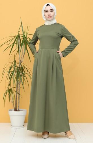 Khaki Hijap Kleider 3246-03