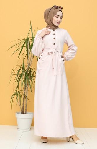 Düğmeli Kuşaklı Elbise 21Y8236-08 Pudra