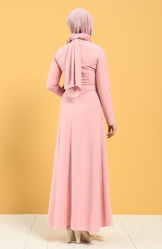 Kemerli Elbise 0550-02 Pudra