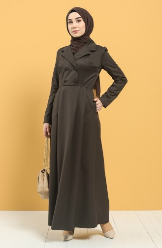 Kruvaze Yaka Pileli Elbise 3245-01 Kahverengi 3245-01