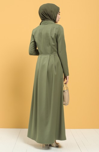 Kruvaze Yaka Pileli Elbise 3245-04 Haki 3245-04
