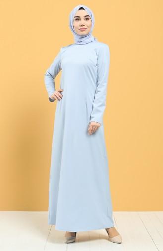 Fermuarlı Klasik Elbise 3248-04 Bebe Mavisi