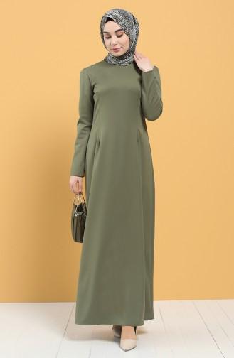 Khaki Hijab Dress 3248-05