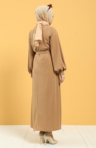 Kuşaklı Krep Elbise 5304-06 Camel