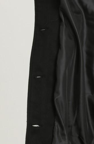 Büyük Beden Kaşe Kaban 2096-01 Siyah