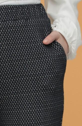 Desenli Düz Paça Pantolon 4040C-01 Lacivert