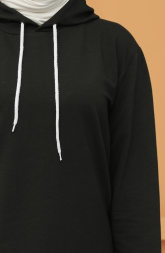 Kapüşonlu Sweatshirt 20039-01 Siyah
