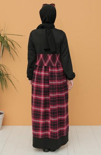 Claret Red Hijab Dress 21K8148-07