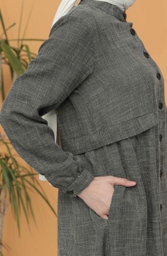 Boydan Düğmeli Uzun Tunik 21Y8240-01 Füme