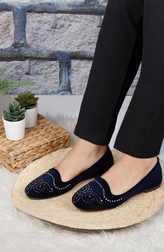 حذاء مسطح أزرق كحلي 0180-03