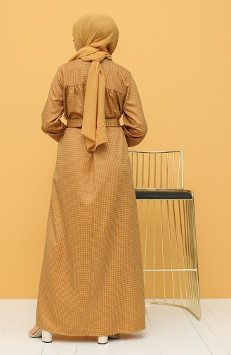 Mustard Hijab Dress 21Y8233-02