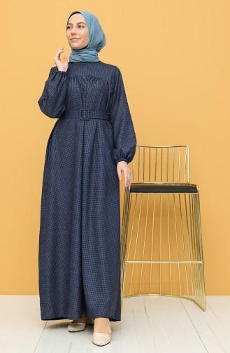 Navy Blue Hijab Dress 21Y8233-05