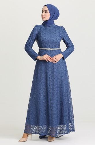 Indigo Hijab-Abendkleider 3513-04