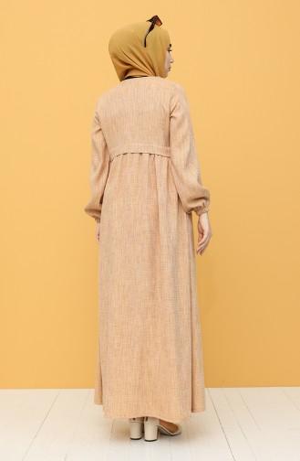 Düğmeli Keten Elbise 21Y8238-01 Hardal 21Y8238-01