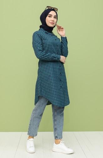 Kareli Tunik 6494-06 Lacivert Zümrüt Yeşili