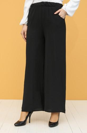 Aerobin Kumaş Cepli Bol Paça Pantolon 3004-02 Siyah