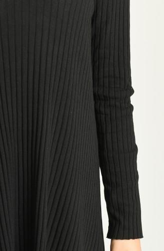 Asimetrik Tunik Panton İkili Takım 7730-01 Siyah 7730-01