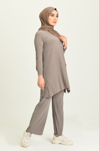 Piliseli Tunik Pantolon İkili Takım 5351-04 Bej
