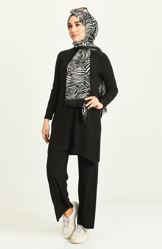 Piliseli Tunik Pantolon İkili Takım 5351-05 Siyah