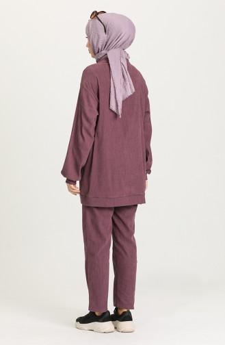 Şeritli Tunik Pantolon İkili Takım 15019-03 Mor