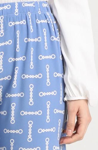Desenli Bol Paça Pantolon 2029-01 Mavi