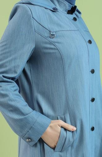 Büyük Beden Düğmeli Ferace 0446-02 Mavi