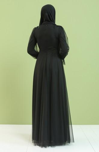 Güpürlü Abiye Elbise 4853-03 Siyah