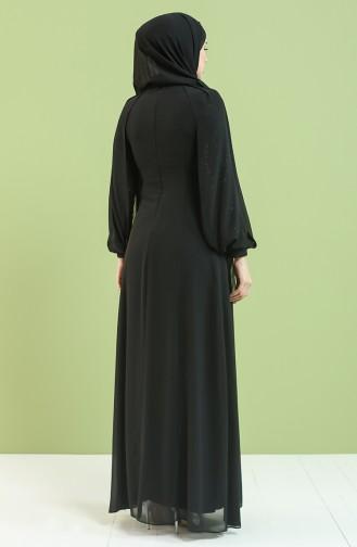 Payetli Abiye Elbise 4856-04 Siyah