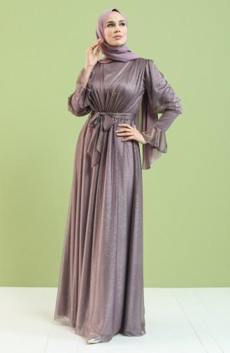 Simli Abiye Elbise 5367-02 Koyu Gül Kurusu