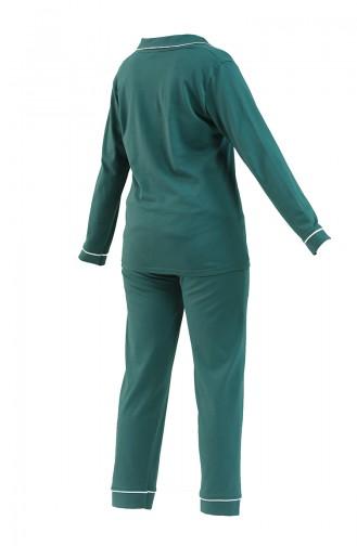 Uzun Kollu Pijama Takımı 2715-01 Yeşil 2715-01