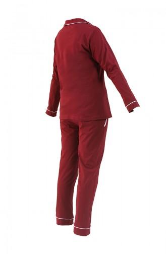 Uzun Kollu Pijama Takımı 2716-01 Bordo
